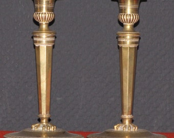 Candle holders pair antique