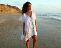 White tassel kaftan/Beach Cover Up/Bathing Suit Cover Ups/Swimsuit Cover Ups/Boho Chic Resort Wear/Summer/Holiday/Beach Caftan