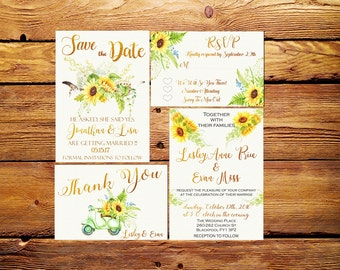 Wedding Invitation,Wedding set printable,Sunflower wedding set invitation,RSVP card,Thank you card printable,Printable Wedding Invitation