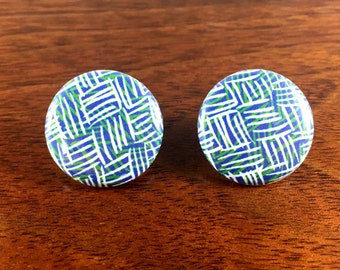 Classic Mid Centry Patterned One inch Button Earrings - parquette set