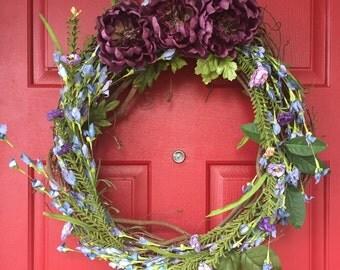 Purple & green wildflower wreath