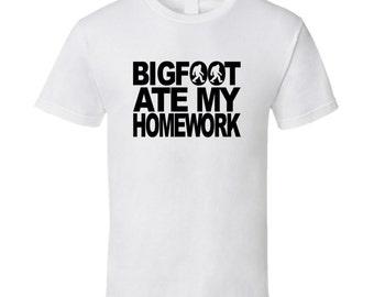 Bigfoot Ate My Homework Funny Bigfoot T-shirt