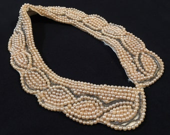 Vintage 1950's faux pearl collar, beaded peter pan collar, detachable collar, made in Japan