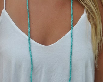Long Turquoise Double Wrap Necklace