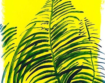 Fern Painting in Guache and Acrylic