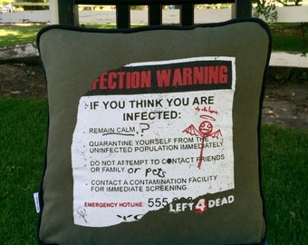 Left 4 Dead Upcycled Throw Pillow