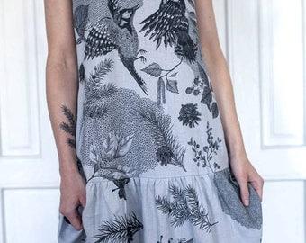 Linen dress, birds , grey linen, natural linen, bird print, summer dress, beautiful dress