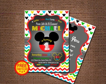 Mickey Mouse Birthday Invitation, Mickey Mouse Invitation, 1st Birthday Invitation,  Mickey Birthday Invitation, Free Thank You Card