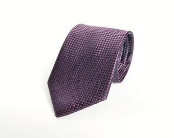 Dark Purple Tie Jacquard Woven Silk Mens Tie Wedding Tie Luxury Mens Gift Tie formal purple Tie