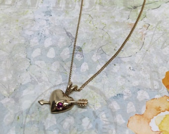 Vintage 10k heart necklace with a dainty ruby