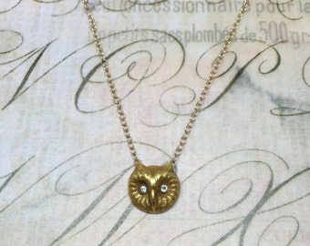 Antique 14k Victorian Owl Necklace with Diamond Eyes