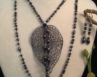 Big Leaf Knotted Necklace set