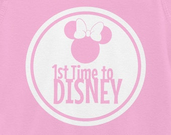 Vinyl Disney World Disney Circle Minnie Mouse 1st Time to Disney Iron On transfer  Disney Family Vacation shirts and Disney Onsie