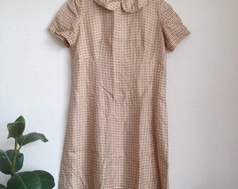 Swinging 1960s Handmade Houndstooth Dress Peter Pan Collar Sz UK12