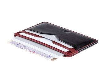Super Slim Leather Card Holder / Card Wallet - A-SLIM - Black / Red - Yaiba - Credit Card Wallet - Cardholder