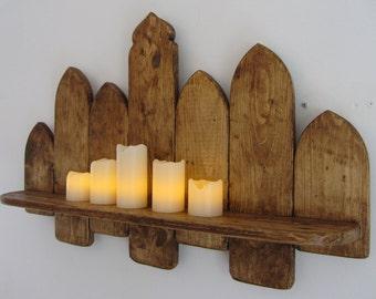 66 cm Moroccan style Reclaimed pallet wood floating shelf , kitchen shelf , bathroom shelf , rustic brown beeswax