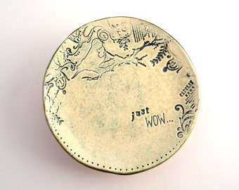small plate/saucer with just wow and bird stamps