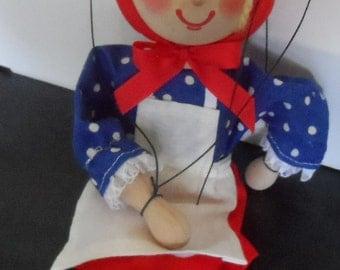 Vintage Wooden Czech Marionette by Masek – Little Red Riding Hood