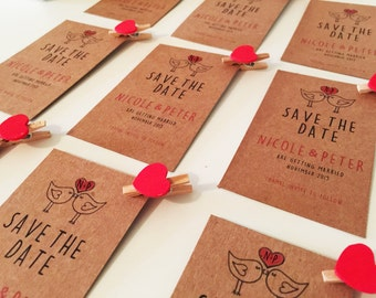 Personalised wedding save the dates