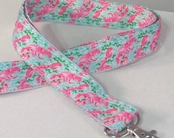 Lilly Lobster Lanyard- Pink Lanyard- FREE Shipping