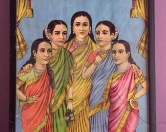 Raja Ravi Varma - Panchkanya Print