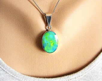 Large 925 Silver TAXCO and turquoise/calcite pendant on chain