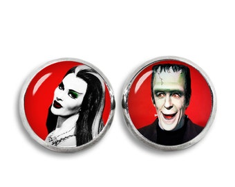 Lily and Herman Munster Stud Earrings Munsters Earrings Fandom Jewelry Cosplay Fangirl Fanboy