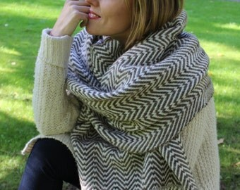 Handwoven Long Scarf Wrap Cape Merino and Alpaca wool Blend Large Shawl