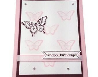 Pink/Brown Butterflies Birthday Card, Handmade