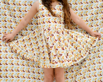 Girls dress with full twirling skirt. Retro- inspired cotton dress by Berry and Kit