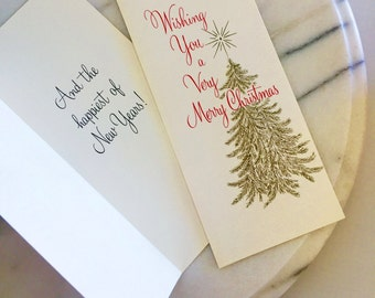 Wishing You a Very Merry Christmas Hallmark Greeting Card Set with 43 Cards & Envelopes Mid-Century Design