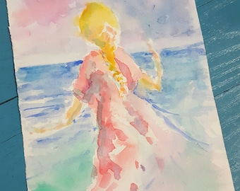 """Original watercolor, """"Lady of the Water"""""""