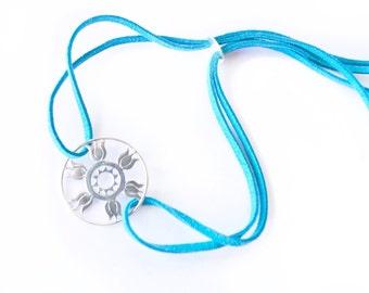 Lotus Bracelet, lotus jewelry, lotus charm bracelet, lotus flower charm, adjustable bracelet, cord bracelet, boho bracelet, silver bracelet