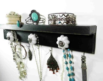 """Pumpkin Knob Black and White Jewelry Shelf & Bathroom Organizer. 16"""" x 3"""" Available in 4 colors. A great gift idea!"""