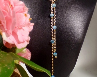 Larimar and gold plated lariat style bead necklace