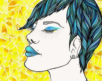 ORIGINAL ART: Mosaica, Mixed Media Illustration