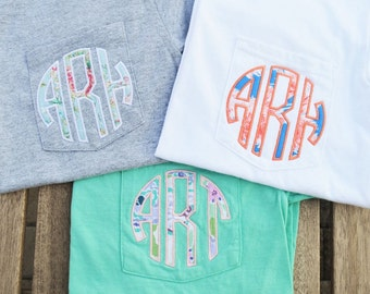 Monogram Pocket Tee, Short Sleeve, monogrammed pocket tshirt, Applique monogram pocket tee for women, gifts for women