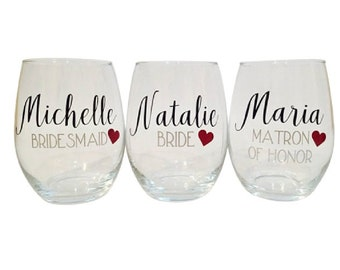 Personalized Stemless Wine Glasses, Bridesmaids Glass, Bridal Party Glass, Custom Name, Monogram, Bridal Party Gift, Glassware