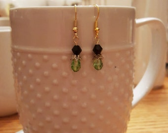 Green and black crystal drop earring
