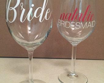 Bride and Bridesmaid Wine Glasses