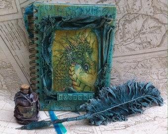Journal, powertex, Art Journal, Dragon journal, notebook, handmade notebook, sketchbook, mixed media journal, Spiral notebook, lined journal