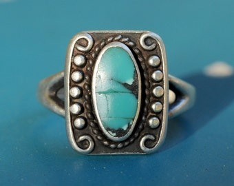Turquoise and sterling silver vintage ring size 7 3/4, turquoise sterling vintage rectangle ring 7.75