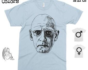 Michel Foucault Portrait T-shirt, Tee, American Apparel, Philosopher, Philosophy, Sartre, Camus, Derrida, Deleuze, Cute Gift