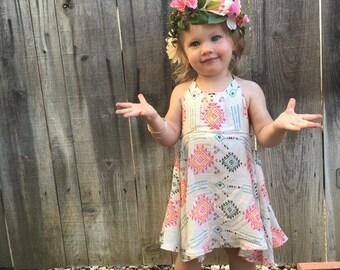 Aztec tribal twirl dress| toddler dress| toddler summer dress| Twirl dress| halter dress| baby toddler halter dress| bright