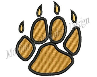 Tiger Paw Logo Machine Embroidery Design 7 Size