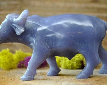 Natural Lepidolite Ox Sculpture  - Stone Animal Figurine-  1279.11