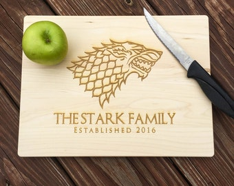 Game of Thrones, Game of Thrones Cutting Board, GoT, Game of Thrones Gift, House Stark, Personalized Cutting Board, Cutting Board, Wedding
