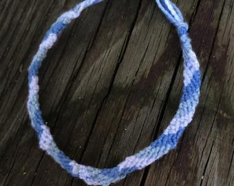 Dark Blue, Light Blue, and White Stripe Bracelet