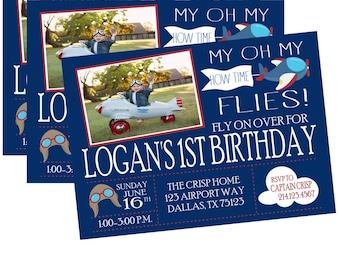 Boy Birthday Invitation,  Airplane Birthday Invitation, Airplane Photo Birthday Invitation, Photo Birthday Invitation, Plane Birthday Invite