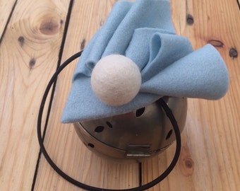 POINTY. Pale blue wool felt fascinator/head piece